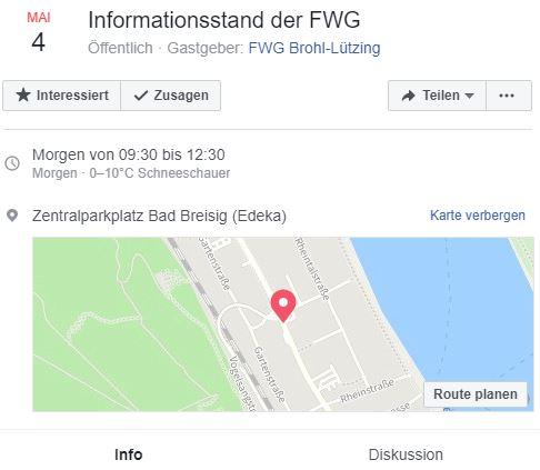 Informationsstand der FWG zur Kommunalwahl 2019